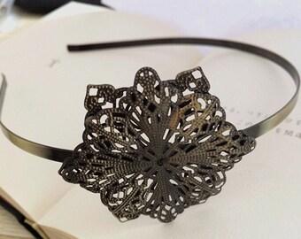 2pcs 54x54mm Floral headband  Antique Bronze Filigree metal Headband
