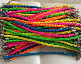 10pcs 7-9inch adjustable Assorted Colors   braided leather cord bracelet 4.0mm