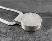 White Quartz Drusy and Silver Pendant - Snow White, artisan, handmade, brushed, contemporary, modern, minimalist