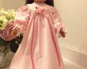 Pretty pink striped cotton Victorian nightgown