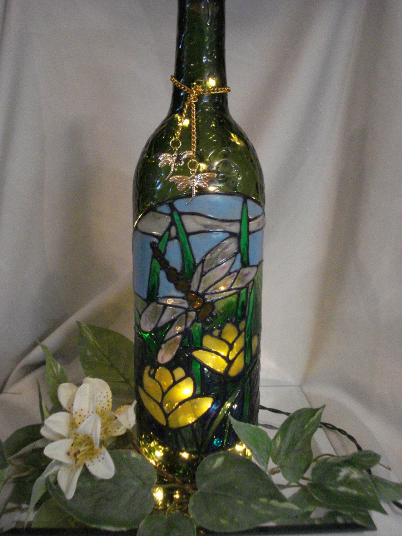 Dragonfly wine bottle lamp green for Green wine bottles