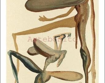 "Dali Woodcut ""Purgatory 22 -Prodigality"" suite Divine Comedy"