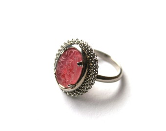 Pink Glass Ring Adjustable Cherry Brand Carved Vintage Rose Glass Oval Floral Cabochon Made in Japan