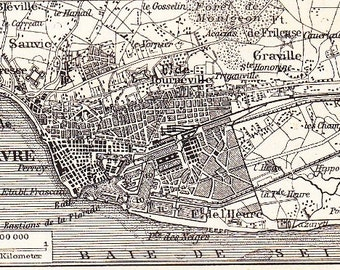 1898 Le Havre Haute-Normandie France at the end of the 19th Century Original Antique Map Print