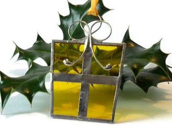 Yellow Gift Christmas Tree Decoration, Yellow Stained Glass Christmas Tree Ornament, Wrapped Present Christmas Tree Decoration