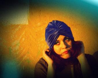 Purple Vintage Look Stretch Turban Hat