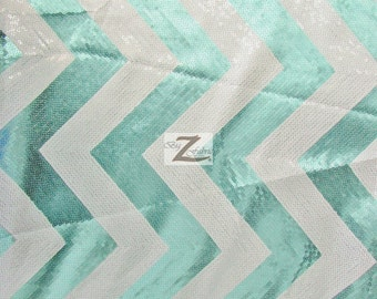 "Chevron Zig Zag Sequins Taffeta Fabric - TURQUOISE/WHITE - 53"" Width Sold By The Yard"