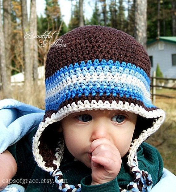 Free Crochet Pattern Toddler Earflap Hat : Crochet Hat Pattern Baby Boy Earflap Beanie Hat Five Stripe