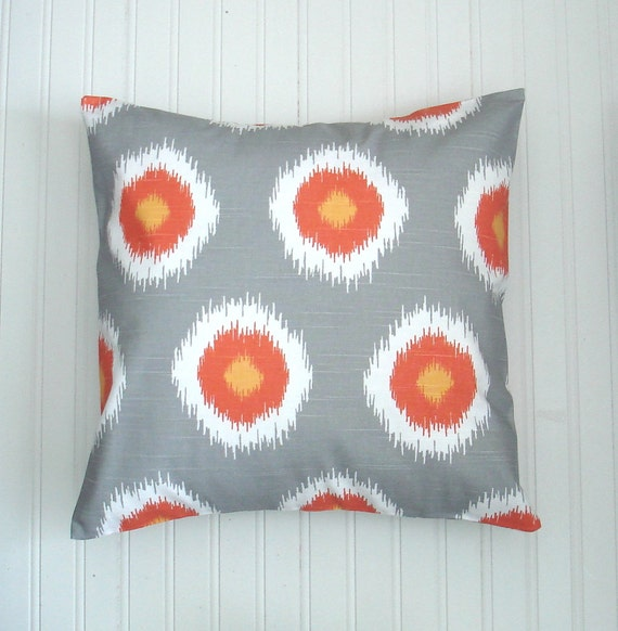 items similar to gray throw pillow covers two orange decorative pillows accent pillows cushion. Black Bedroom Furniture Sets. Home Design Ideas