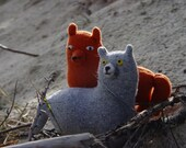 Woodland wolf and foxy stuffes toys, recycled ecofriendly toys