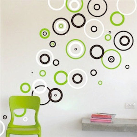 Rings Vinyl Wall Decals Bedroom Shape Designs Circle Wall