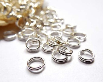 50/100 Silver Plated Double Loop Split Jump Rings 5mm - 7-16