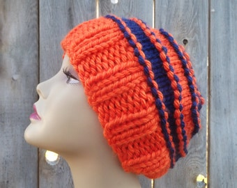 Slouchy Hand Knit Hat - Orange and Blue - Denver Broncos - Chicago Bears -100% Acrylic