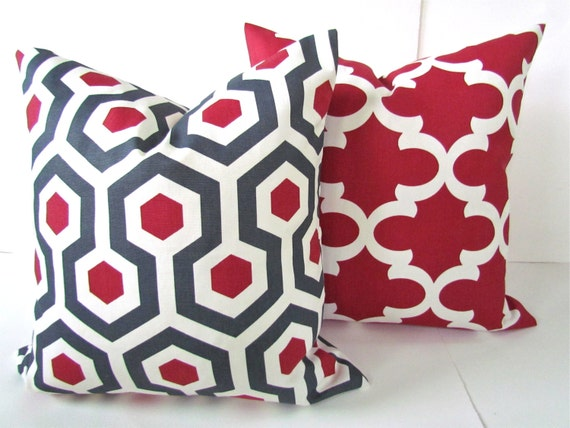 Etsy Throw Pillow Sets : Items similar to RED PILLOWS Set Of 2. Red Decorative Throw Pillows Gray Red Pillow Cover 16 ...