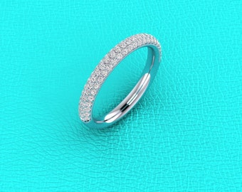 14K white gold 3 row pave band