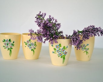Vintage Celluloid Hand Painted Cups Set of Four