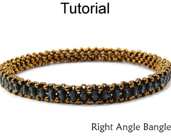 Beading Tutorial Pattern Bracelet - Tubular Right Angle Weave - Simple Bead Patterns - Right Angle Bangle #9346