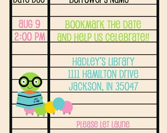 Library/Bookworm Birthday Invitation- Girl or Boy Version Available Digital file