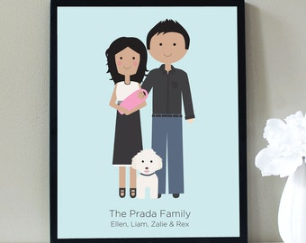 Custom Portrait,  New Baby and Pet Family Portrait, Custom Illustration, Family Portrait, Family Illustration, Mothers Day