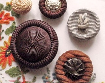 Textile buttons, vintage, 5 different, cord, textile and corduroy & plastic thong, c 1940's to early 1950's.