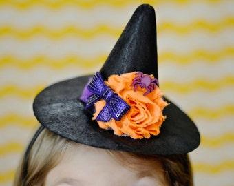 Mini witch hat. Purple and orange Halloween headband