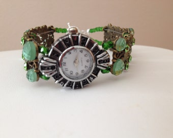 Green Jeweled Double Strand Watch