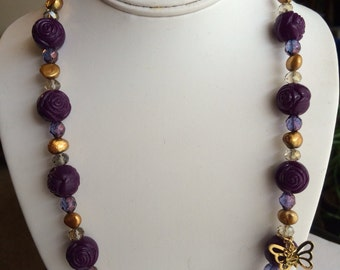 Purple Flower and Butterfly Charm  Necklace.