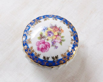 Vintage Porcelain Round Lidded Ring Trinket Box PM Made in GDR Hand Painted Trasfer Pattern