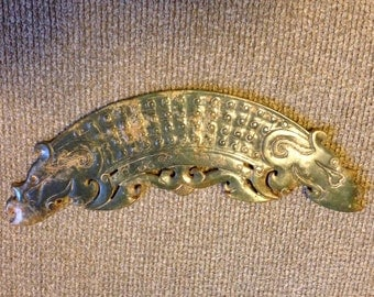 Ancient Style Chinese Serpentine Pendant Carving (green)