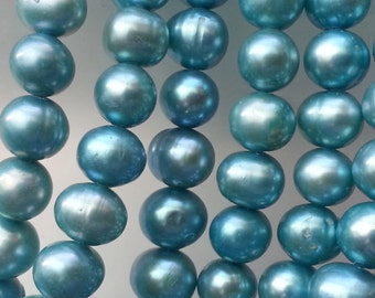 "1-15"" Strand Light Teal Freshwater Pearls 7mmx8.5mm approx 58 Beads"