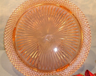 Miss America Pink Depression Glass Cake Plate, 12 inch