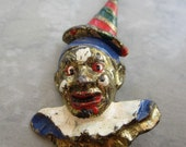 clown pin 1930s scary costume jewelry brooch
