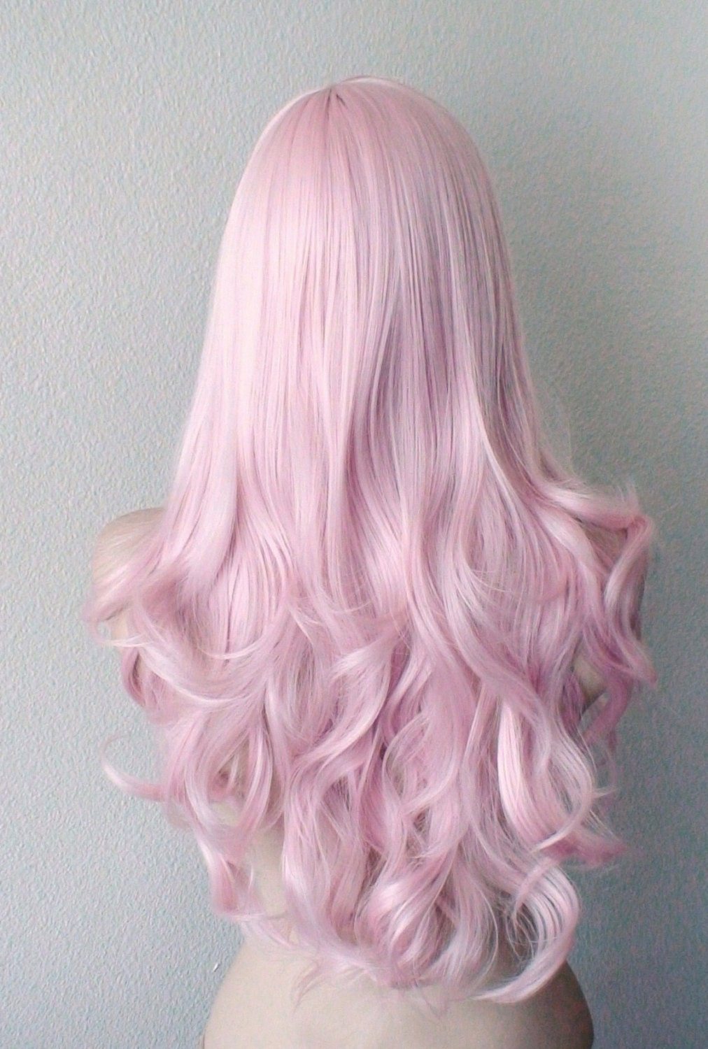 Pink Hair Wig Pastel Light Pink Long Wavy Curly Hairstyle