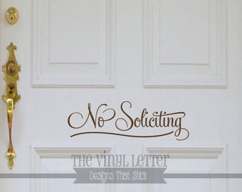 No Soliciting Fancy Text Only Door Window Home Vinyl Decal