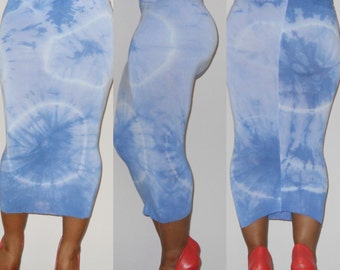 Sky Blue Contour (fitted) Tie-Dye Skirt