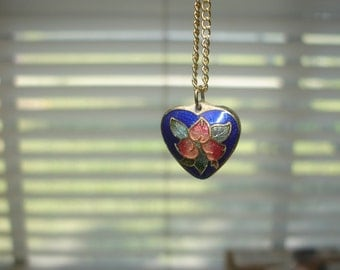 Double Sided  Heart with Flower Cloisonne Gold Tone Necklace