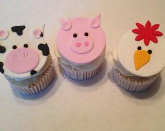Barnyard Fondant Cupcake Toppers