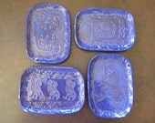 Blue Stamped Terracotta Whatever Dish / Tray - Jewelry, Trinkets, Dipping, Soap, Spoon Rest, Candle Owls, Bird with Flower, Horses, Elephant