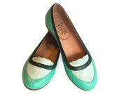 Mocasín Mint - Leather flat shoes in aqua green - Handmade mocasin - Free shipping