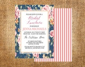Printable Shabby Chic Rustic Bridal Luncheon Invitation 5x7