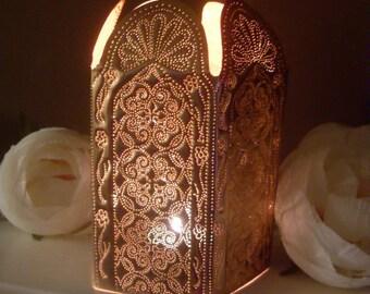 Copper home decor, copper lamp, copper lantern, Moroccan style, Moroccan design, copper anniversary, 7th anniversary gift, geometric pattern