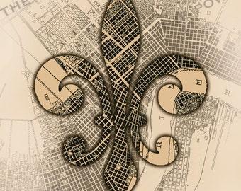 "New Orleans, Louisiana digital illustration 8"" x 10"" art print- city map from 1878- fleur de lis- FREE SHIPPING"