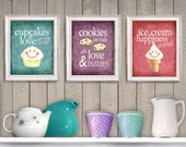 Desserts are Love - Set of 3 Photographic Prints - Cute Sweet Kitchen Art Teal Pink Purple Texture Home Decor Wall Art Bakery Bake Fun Retro