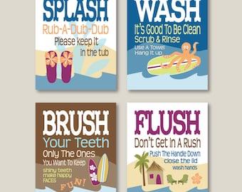 "Childrens Kids Bathroom Art Prints Set of (4) 5"" x 7"" or 8"" x 10"" Surf Board Theme // Fine Art Home Decor- UNFRAMED"