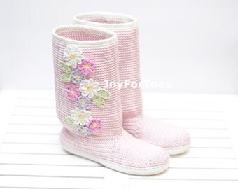 Crochet Boots Summer Shoes Flowers Boots Handmade Shoes Pink Pastel Colors Boho Style Made to Order JoyForToes