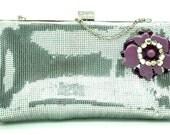 Evening bag, Silver evening bag, Evening purse,Floral handbag, Silver clutch evening bag, Purple evening bag,Rhinestone clutch evening bag