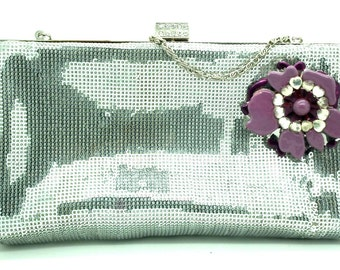 Unique CLUTCH BAG sparkly silver, for the evening