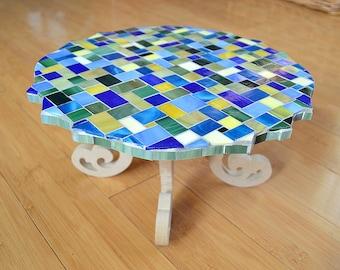 Handmade Glass Mosaic Pedestal Plate