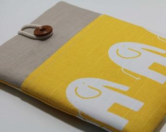 Yellow MacBook  Pro 13 inch Case MacBook Pro Case Sleeve Foam Padded Handmade Laptop Case- Yellow Elephant