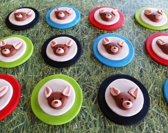 12 Fondant edible cupcake/cookie toppers - Chihuahua Theme, fondant puppies, puppy cupcake toppers, fondant dog
